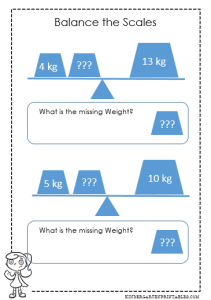 balance scale worksheet
