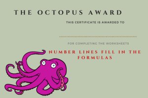 Octopus Award - Number Lines Fill in the Formulas