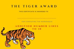 Tiger Award - Number Lines to 10