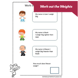 weight worksheets calculate the differences