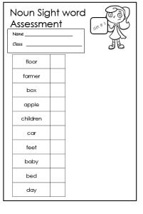 noun sight words assessment
