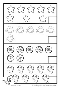 Counting objects to 10 worksheets - Kindergarten Printables