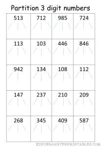 partition 3 digit numbers worksheet - Kindergarten Printables