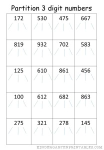 partition 3 digit numbers worksheet free printables. Black Bedroom Furniture Sets. Home Design Ideas