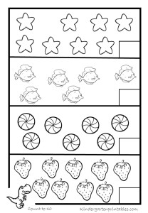 Counting worksheets 1-20 - Kindergarten Printables