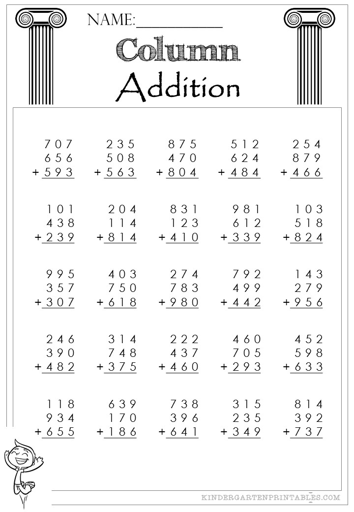 three digit column addition 3 addends worksheet. Black Bedroom Furniture Sets. Home Design Ideas