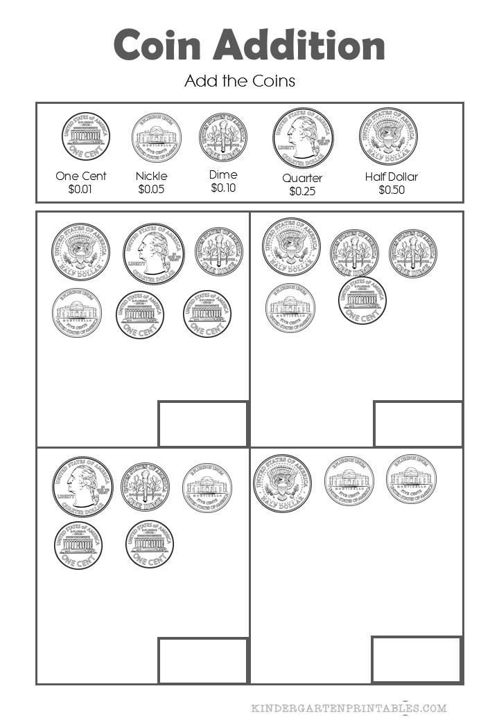 add coins up to half a dollar worksheets. Black Bedroom Furniture Sets. Home Design Ideas