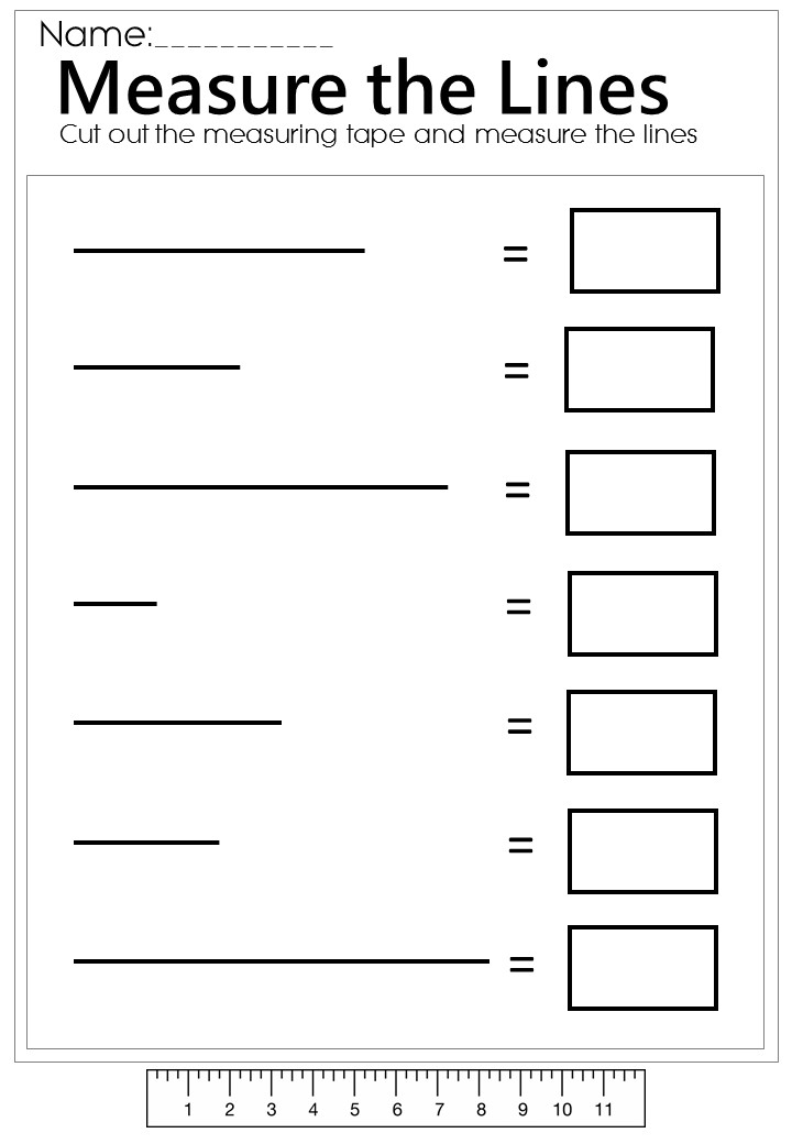 Drawing Lines Using A Ruler Worksheet : Measure the line worksheet