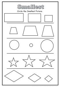 circle the smallest shape worksheet