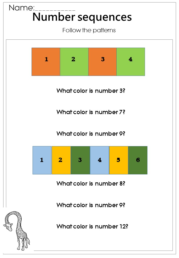 Basic Number Sequences Worksheet printable -