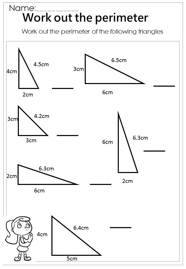 Finding area and perimeter of rectangles and triangles worksheet