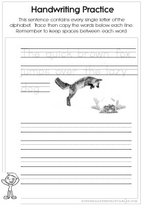 Pangram Handwriting worksheets
