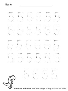 Tracing number 5 worksheet