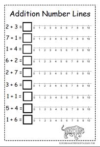 number line addition worksheets