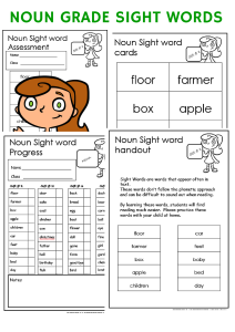 noun sight word worksheets