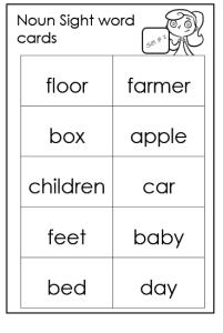 noun sight words flash cards