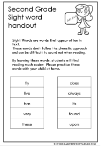 second grade sight words homework handout
