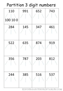 Partition 3 digit numbers worksheet