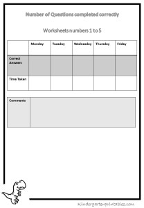 counting worksheets progress sheet