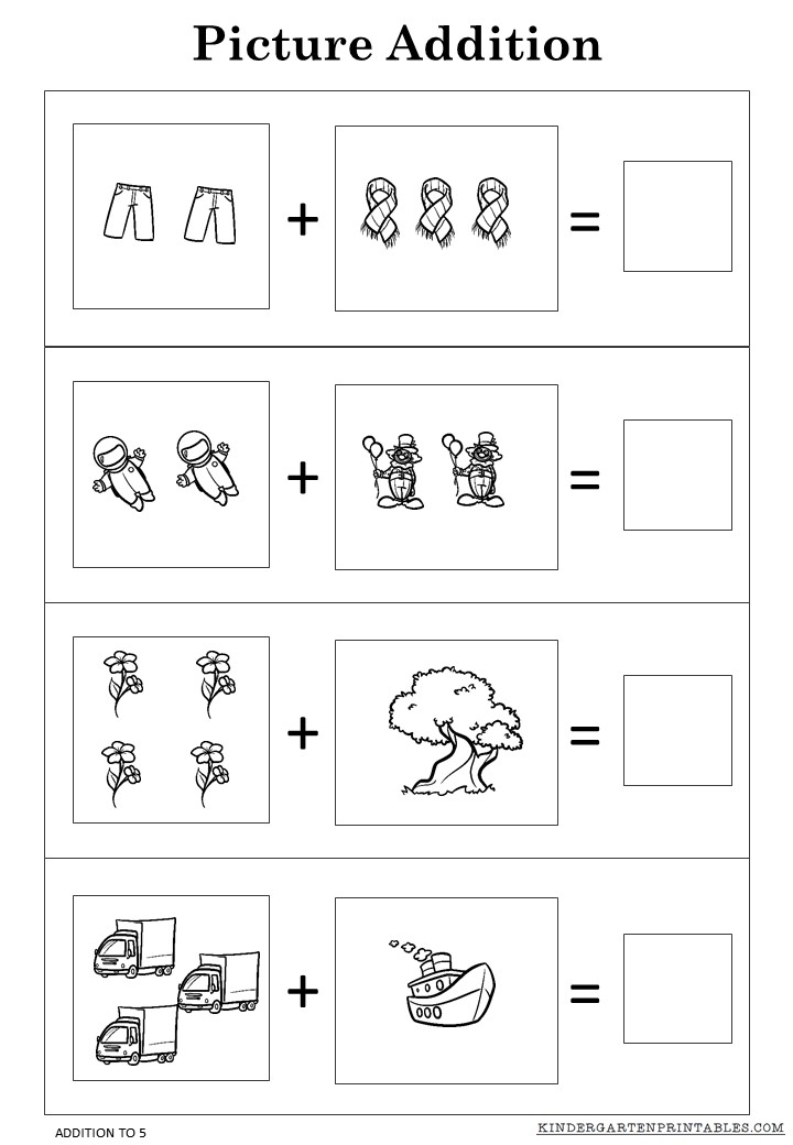 Free Picture addition worksheets to 5 printables -