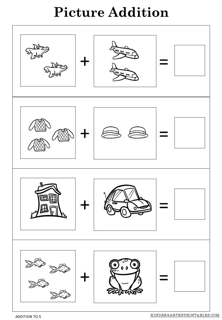 free printable worksheets free picture addition worksheets to 5 printables 170