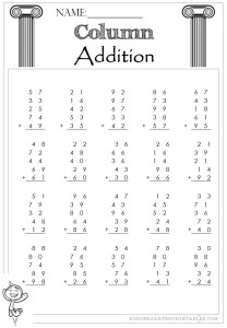 Column Addition 2 Digit 5 addends