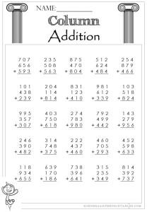 Column Addition 3 Digit 3 addends