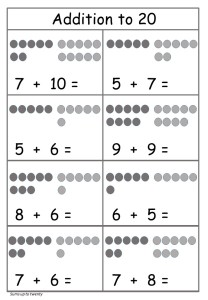 Addition to 20 worksheet free printable