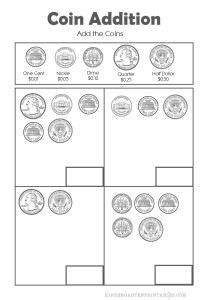 Add Coins up to half a dollar worksheets