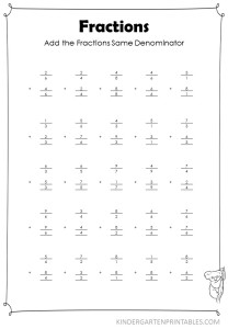 Vertical Add Fractions Same Denominator worksheet