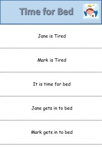 Time for Bed reading Slips