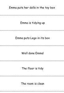 Simple sentences reading slips - time for bed