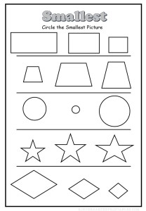 circle the smallest shape worksheet